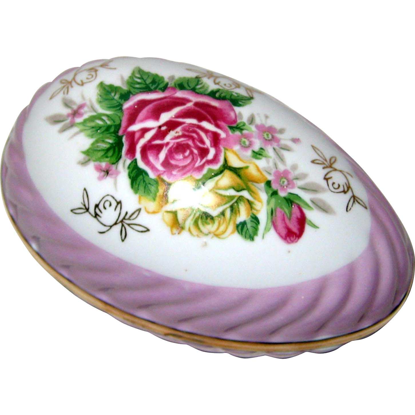 Porcelain Egg Box with Roses and Lavender Lusterware Trim