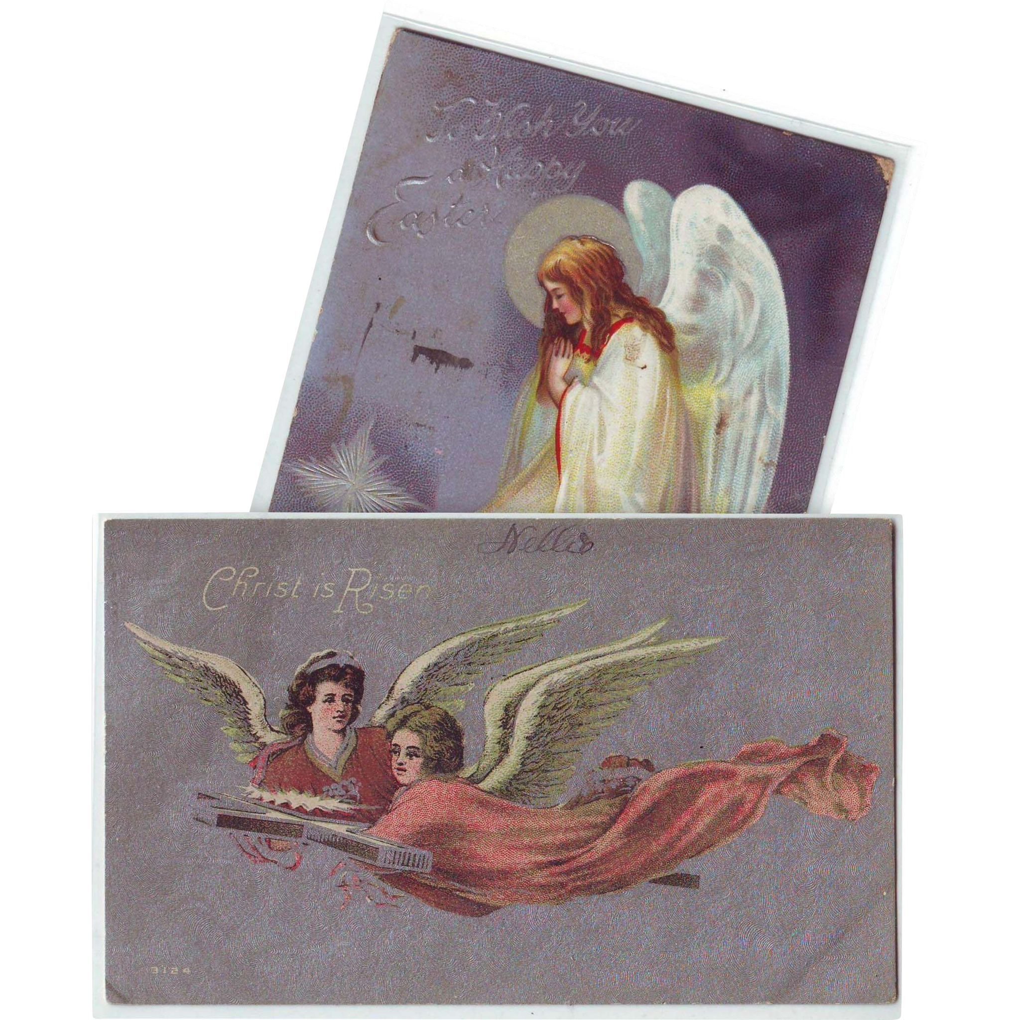 Two Vintage Easter Postcards with Angels