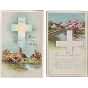Two Vintage Easter Postcards with Crosses