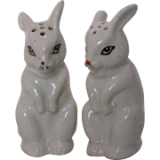 Porcelain Easter Bunny Salt and Pepper Shakers - Midcentury Japan
