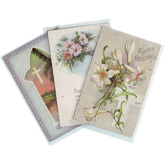 Three Vintage Easter Postcards - Early 1900's