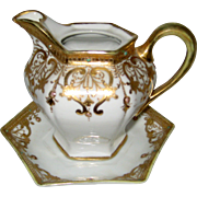 "1911 Hand Painted Nippon ""Royal Crockery"" Porcelain Gilt Moriage Syrup Pitcher and Underplate - As Is"