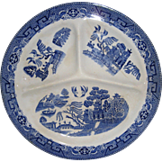 Societe Ceramique Maestricht Blue Willow Grill Plate, Made in Holland
