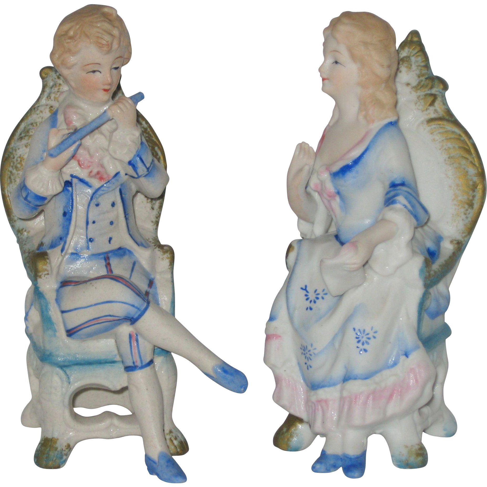 Pair of Bisque Porcelain Figurines - Musical Theme