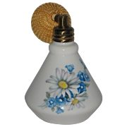 Ljette Porcelain Perfume Atomizer with Blue and White Flowers and Mesh Covered Bulb