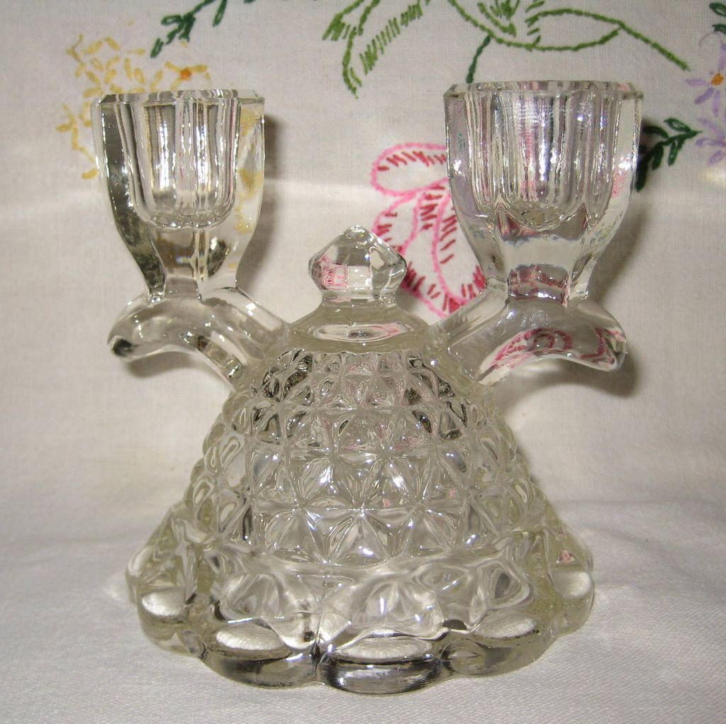 "Imperial Glass ""Laced Edge"" Depression Glass Candle Holder"