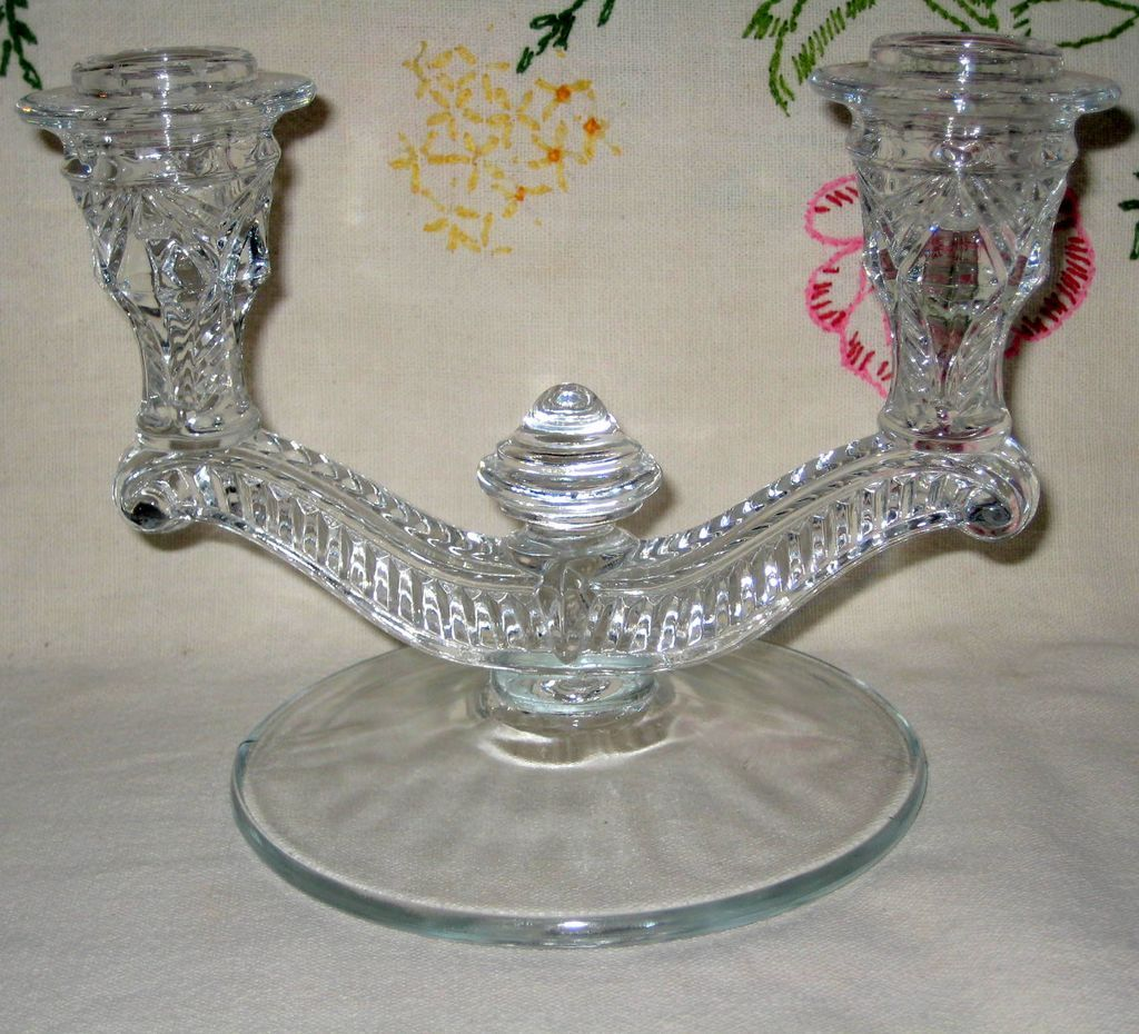 Double Light Prescut Glass Candle Holder