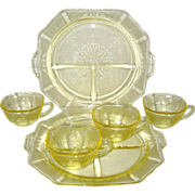 Six Pieces of Yellow Hocking Princess Depression Glass