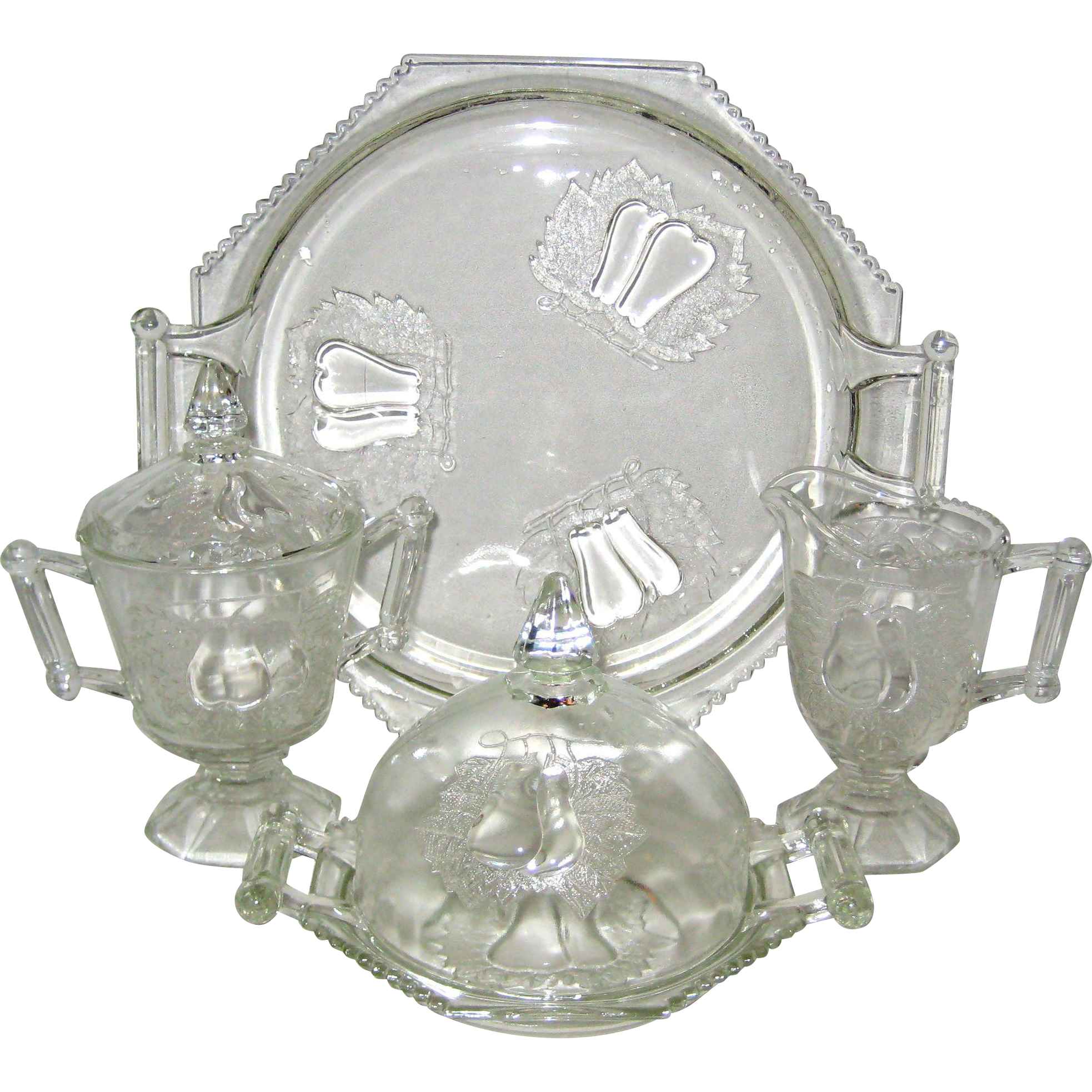 Six Piece Jeanette Glass Baltimore Pear Set - Covered Sugar, Creamer, Cheese or Butter Dome with Lid and Sandwich Tray 1950's - 1960's