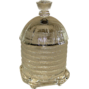 L.E. Smith Glass Honey or Jam Jar - Bee Skep