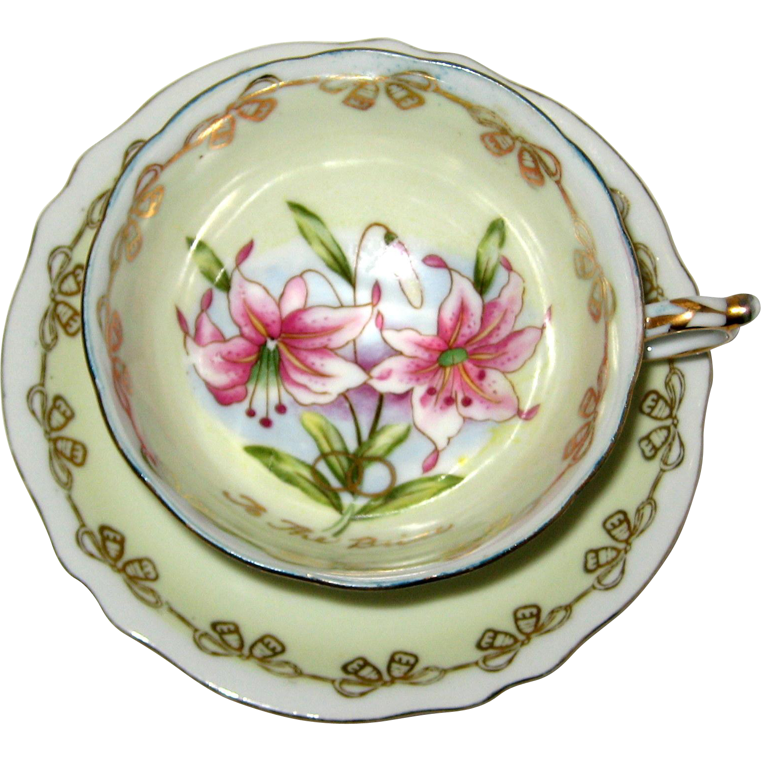 "Trimont China, Occupied Japan Porcelain Cup and Saucer with Lilies - ""For the Bride"""