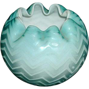 Mt. Washington Mother of Pearl Satin Glass Rose Bowl - Blue Herringbone Pattern