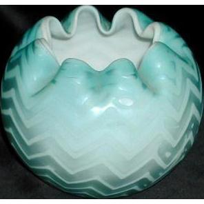 Mt. Washington Mother of Pearl Satin Glass Rose Bowl - Blue Herringbone Pattern