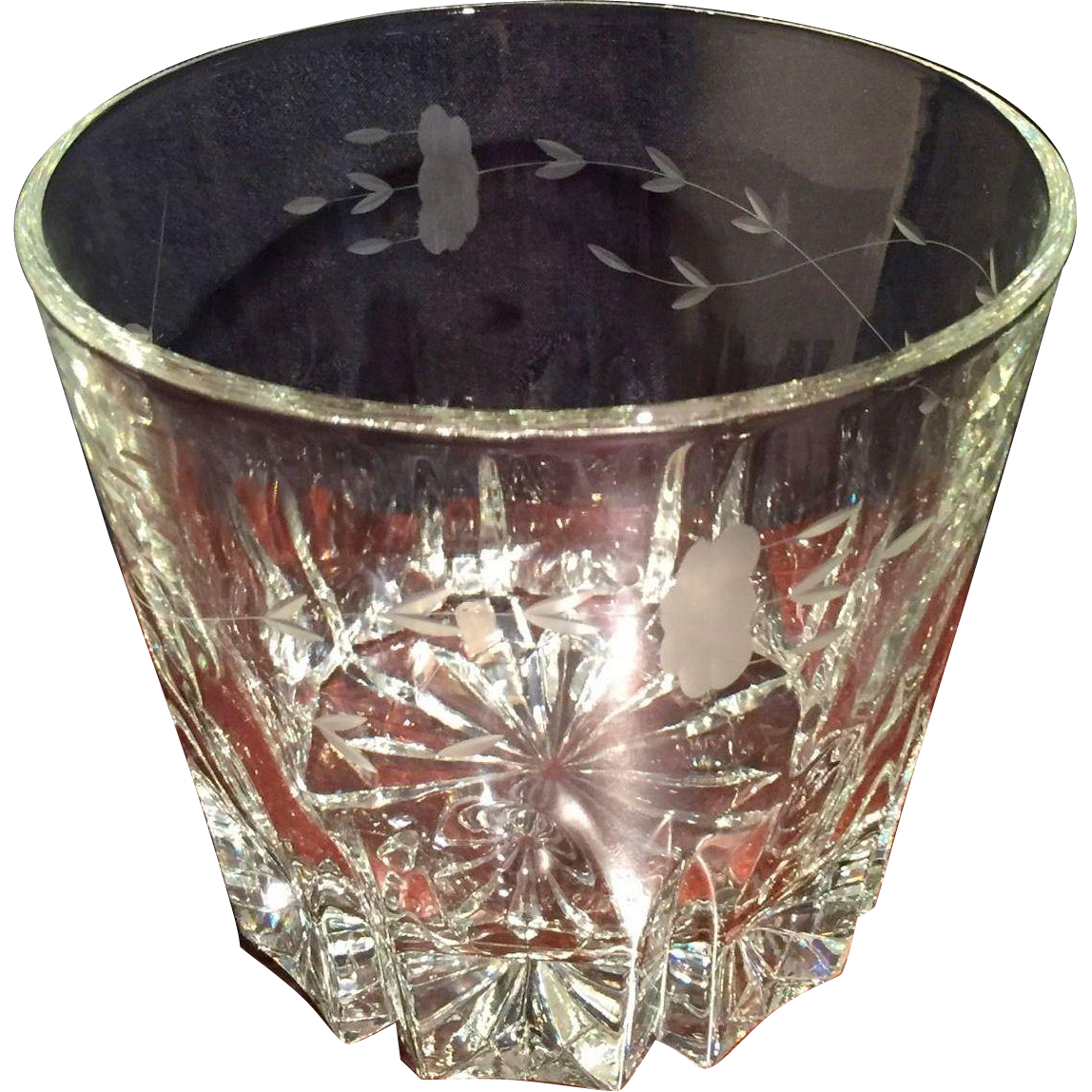 Princess House Etched Crystal Ice Bucket or Champagnes Cooler