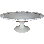 White Milk Glass Pedestal Fruit Bowl with Lattice Lace Border