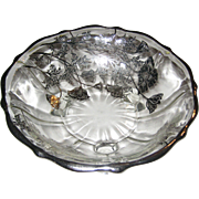 Silver Overlay Three Footed Bon Bon Dish in the Flanders Poppy Pattern by Silver City