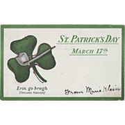 1906 Vintage St.Patrick's Day Postcard - Shamrock, Undivided Back