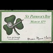 1906 Vintage St.Patrick's Day Postcard - Shamrock, Undivided Back