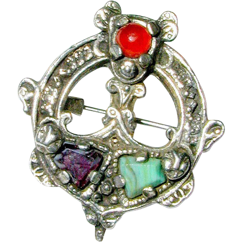 Celtic Penannular Style Pin with Glass Cairngorm Gems