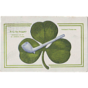 St.Patrick's Day Postcard - Shamrock and Clay Pipe 1918