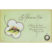 Unused Vintage St.Patrick's Day Postcard - Castle in a Shamrock