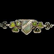 Victorian 800 Silver and Connemara Marble Dublin Shamrock Brooch