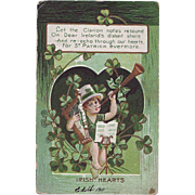 St.Patrick's Day Postcard- Clarion and Harp 1911