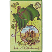 Vintage St.Patrick's Day Postcard - Blarney Castle and Shamrocks - Unused, circa 1910