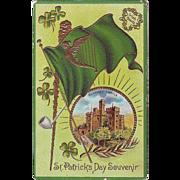 Vintage St.Patrick's Day Postcard - Blarney Castle and Shamrocks - Unused, circa 1910
