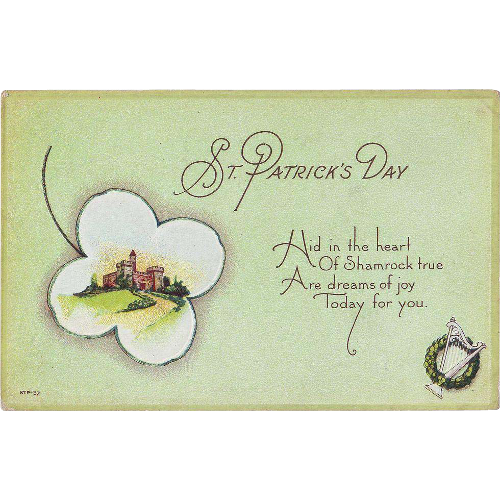 St. Patrick's Day Postcard - Hid in the Heart of Shamrock true