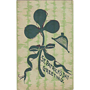 St. Patrick's Day Postcard - Shamrock with Glitter