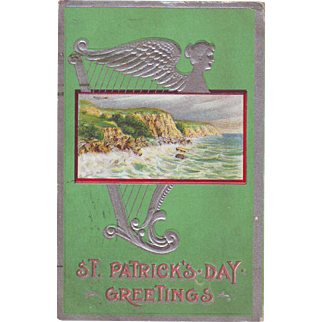 Vintage St.Patrick's Day Postcard - Cliffs and Sea