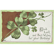 Vintage Postcard - March Birthday - St. Patrick's Day