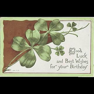 Vintage Postcard - March Birthday - St. Patrick's Day