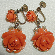 Japanese Coral Colored Celluloid Earrings