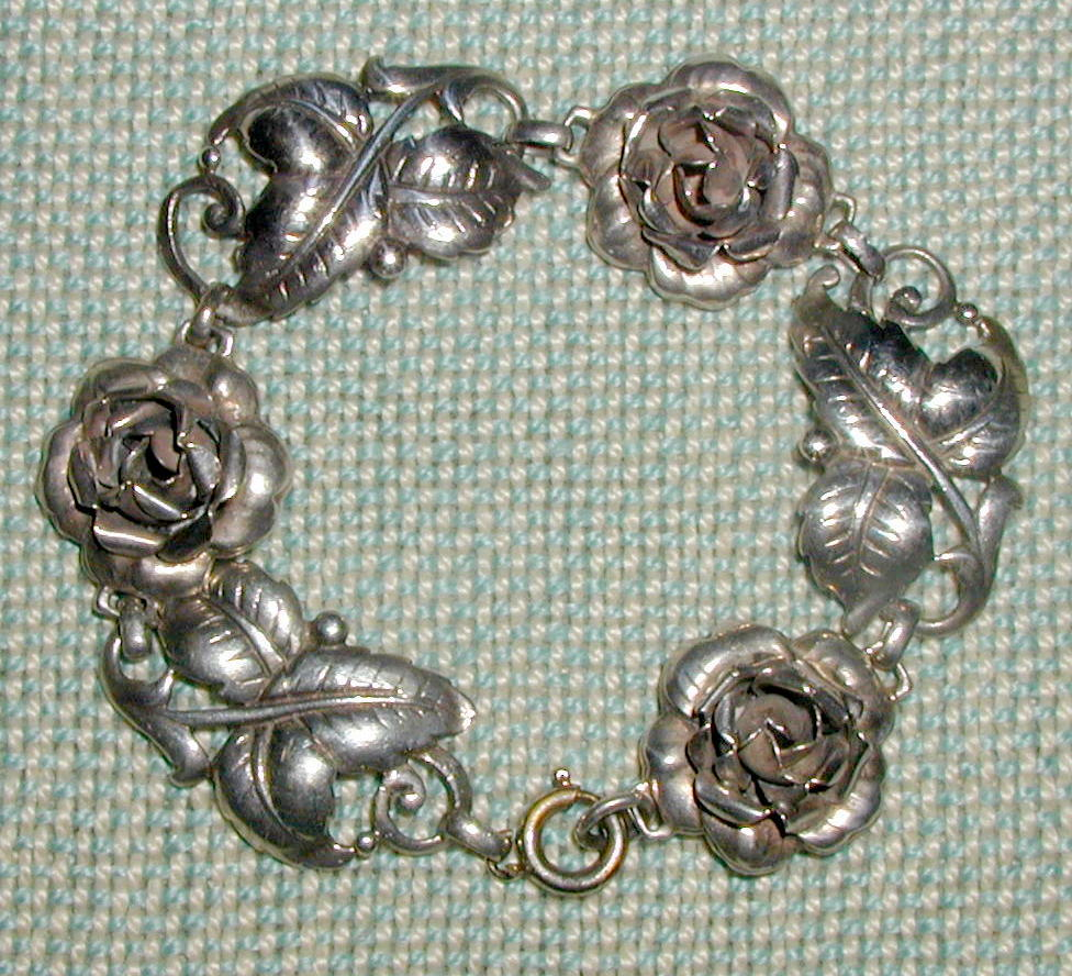Sterling Silver Bracelet with Three Dimensional Roses