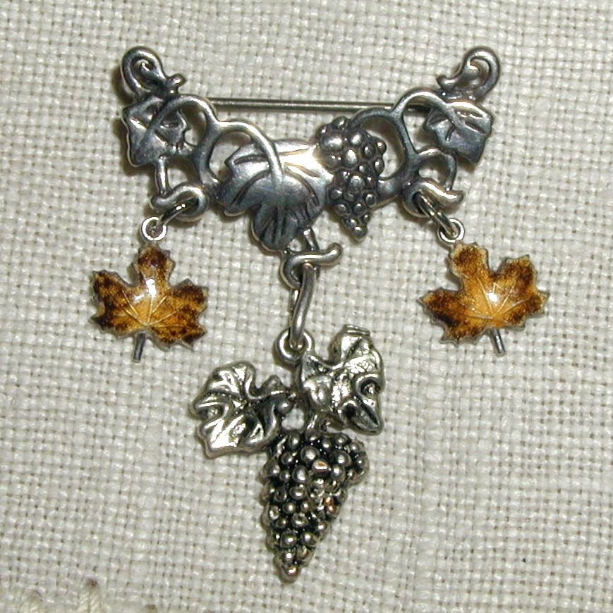 Sterling Grapes and Enameled Leaves Pin