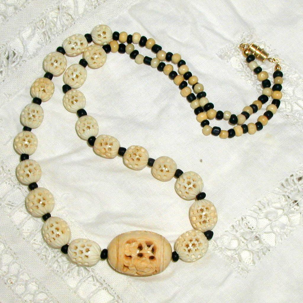 Chinese Hand Carved Bone Necklace and Earrings