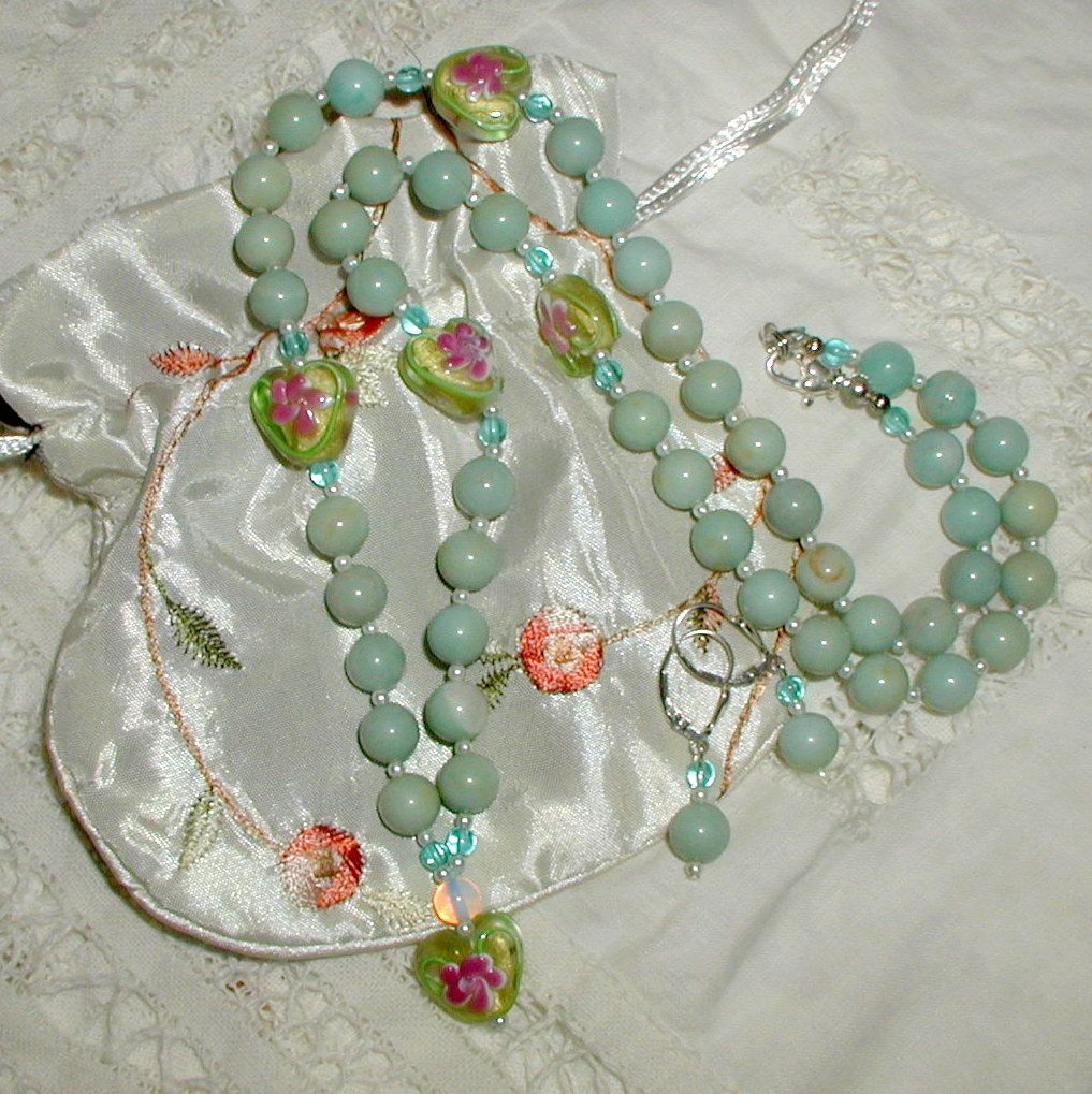 Lampwork Rosebud Necklace and Earrings