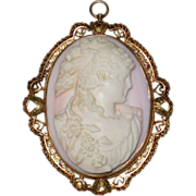Pale Pink Victorian Shell Cameo Pendant of Flora - High Relief