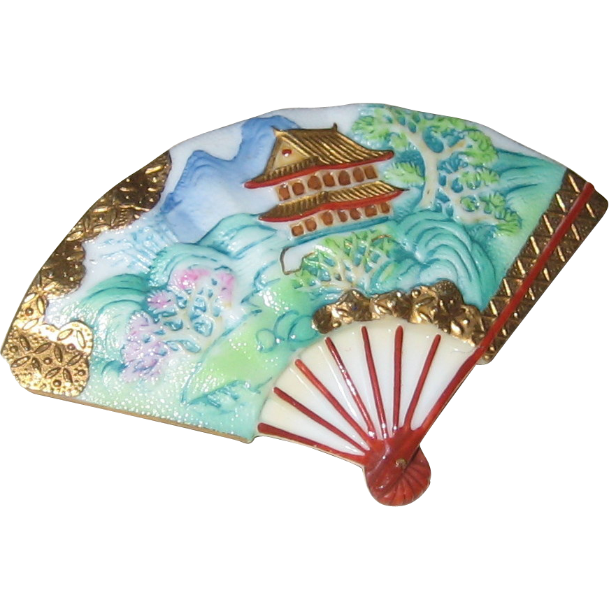 Blue Toshikane Porcelain Fan Pin with Temple