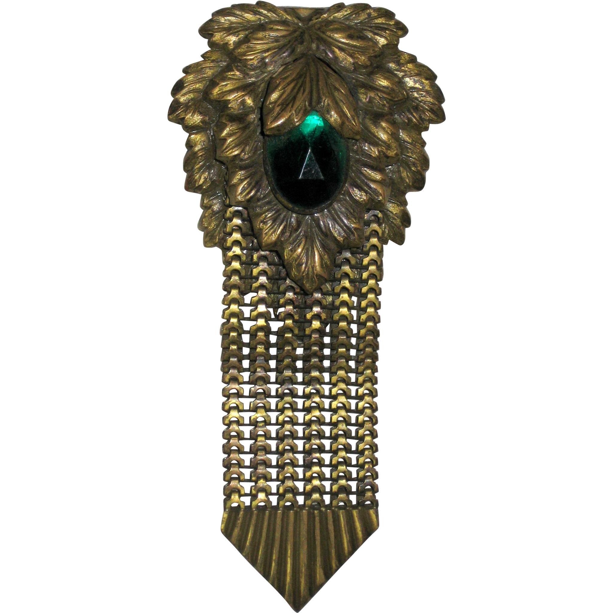 Large Art Deco Fur or Dress Clip with Molded Leaves and Green Glass Stone