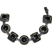Mexican Sterling Silver and Black Onyx Modernist Bracelet - 7 1/2""