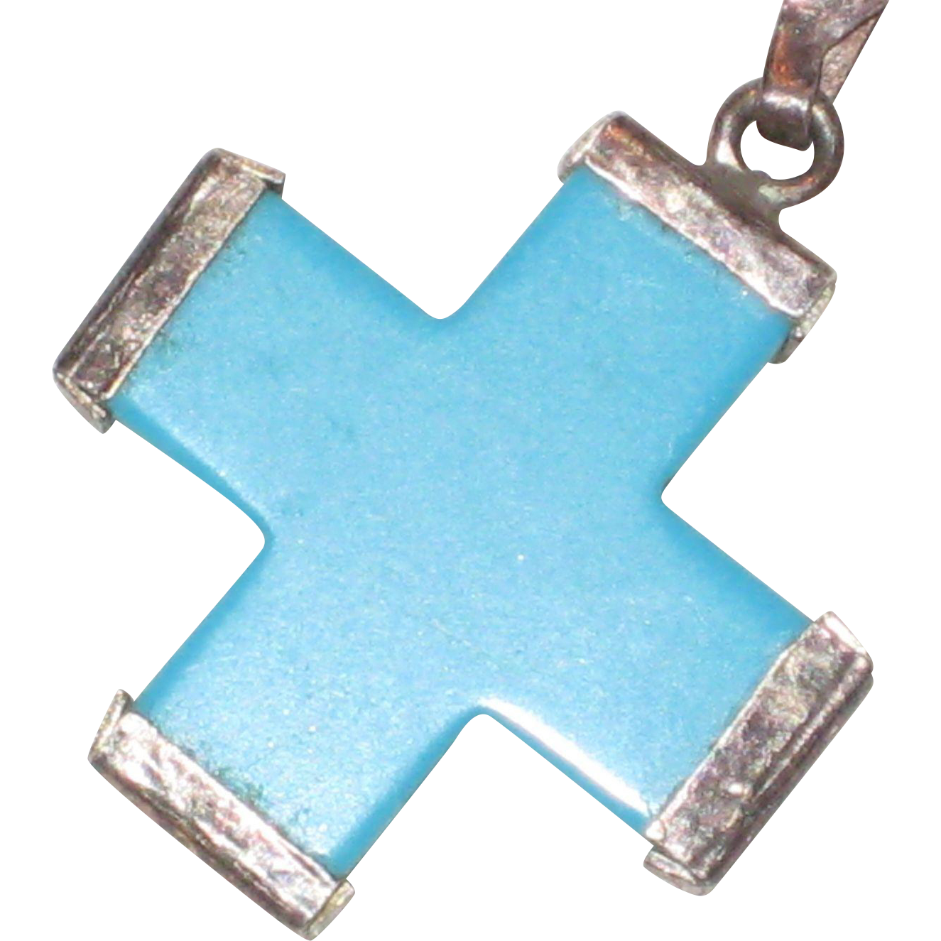 "Turquoise Colored Glass Greek Cross with 18"" Sterling Silver Chain"