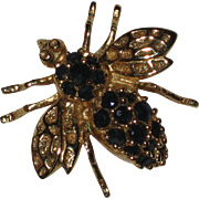 Gold-tone Bee Pin with Black Crystal Rhinestones