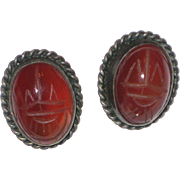 Carnelian Scarab Screw-back Earrings in a Sterling Silver Setting