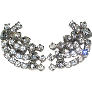 Ultra-glamorous Mid Century Rhinestone Clip Earrings