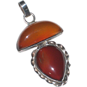 Translucent Orange-Brown Agate Gemstone Pendant in Sterling Silver Setting