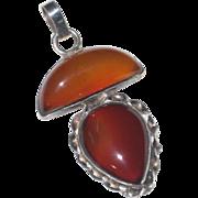 Translucent Orange-Brown Agate Gemstone Pendant in Sterling Silver Setting
