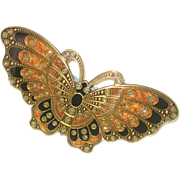 Deco Inspired Enameled Butterfly Hair Clip Barrette